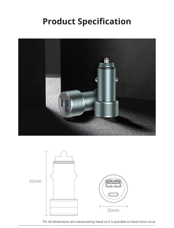 Vissko Quick Charging Dual QC 3.0 Car Charger Mini Aluminum Alloy Car Charger USB Quick Charge Cigarette Lighter 9