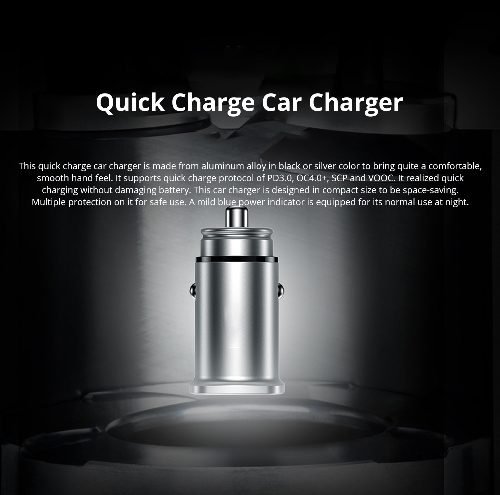 Vissko Intelligent Quick Charge Vehicle-mounted Charger Square Mini Alloy Car Charger Widely Compatible Car Charger 0