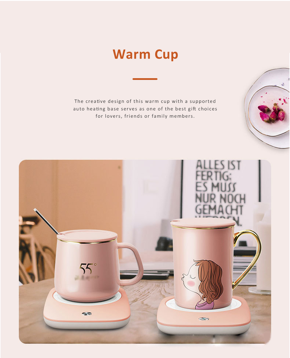 Electric Heating Ceramic Coffee Mug Warm Cup with Auto Temperature-lock Base Quick Heating Water Cup Best Gift 1