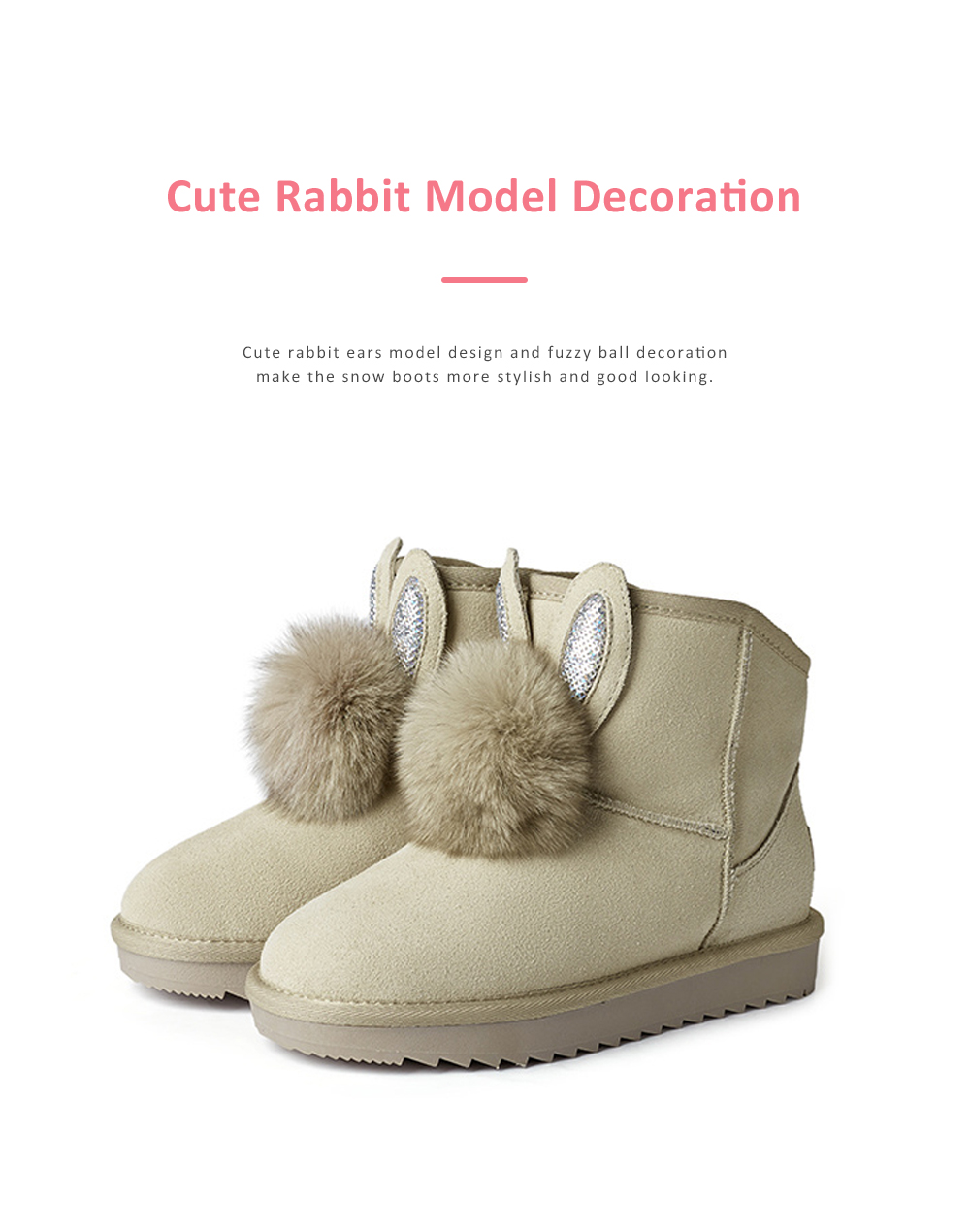 Warm Winter Autumn Cute Fluffy Rabbit Ears Model Decorative Anti-skid Girl Snow Boots with Fuzzy Ball Decoration 1