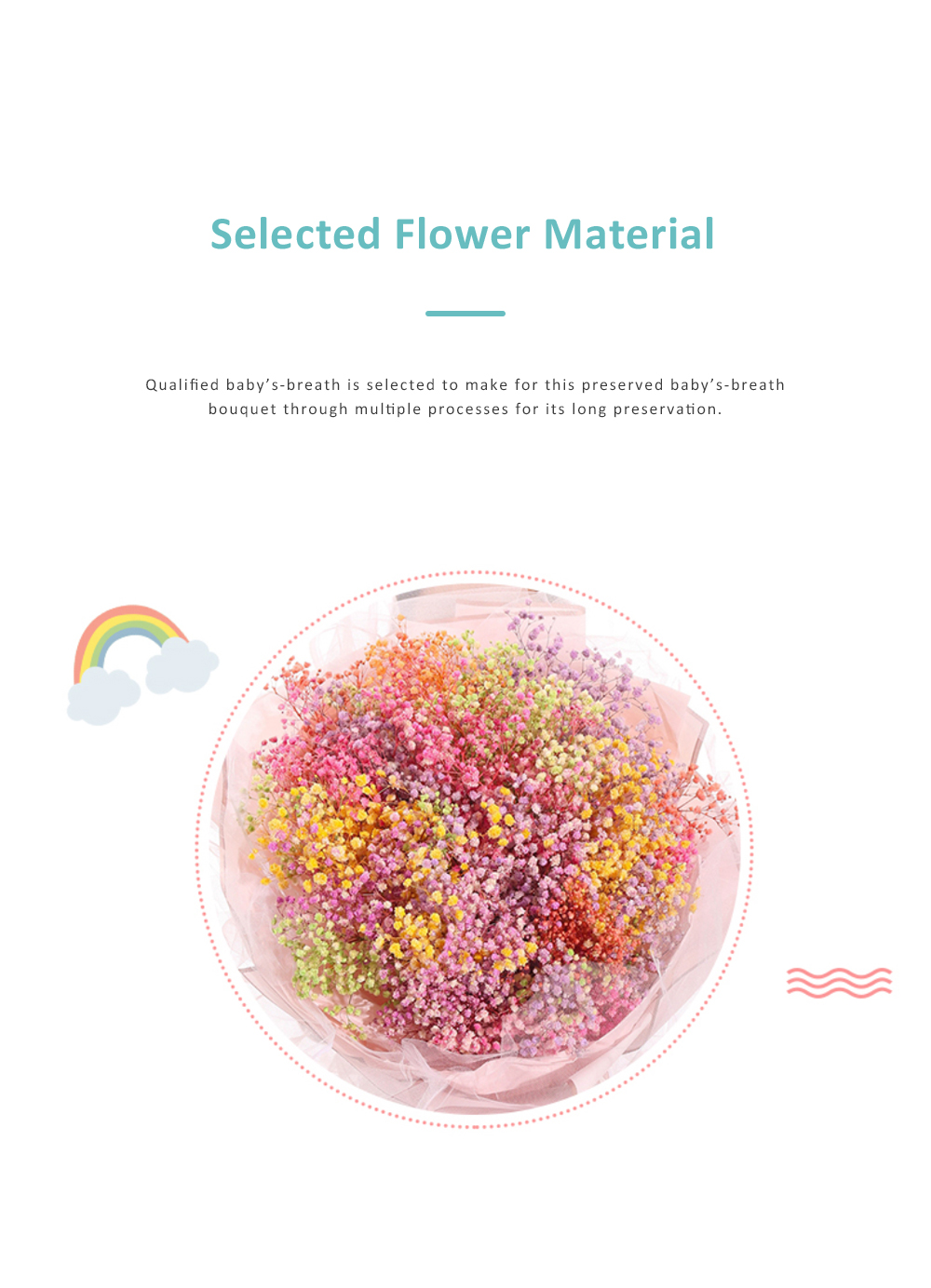 DOROCH Preserved Flower With Book Gift Box for Valentines' Day Gift Dry Preserved Flower Bouquet Baby's-breath Preserved Flower 1
