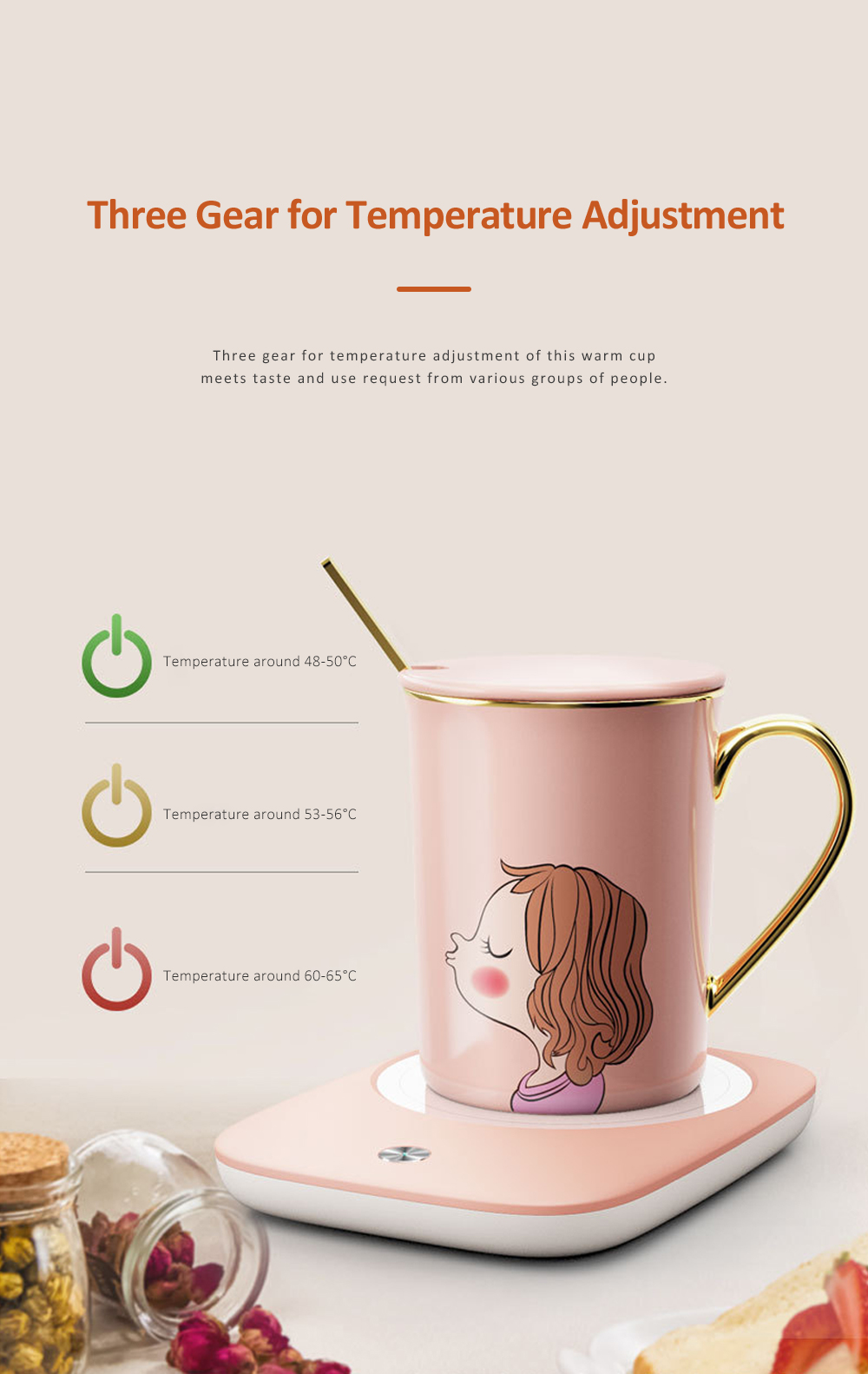 Electric Heating Ceramic Coffee Mug Warm Cup with Auto Temperature-lock Base Quick Heating Water Cup Best Gift 2
