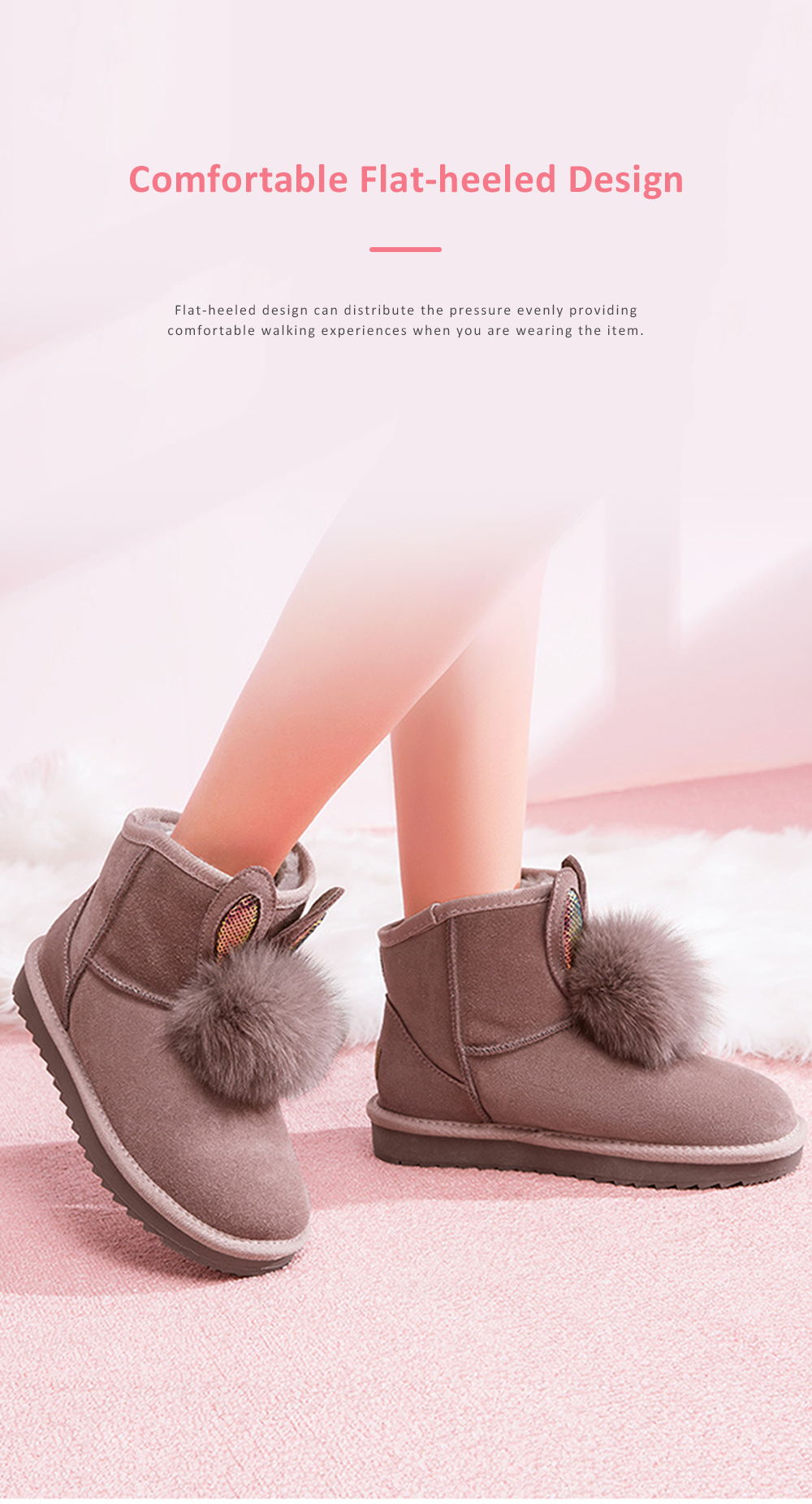 Warm Winter Autumn Cute Fluffy Rabbit Ears Model Decorative Anti-skid Girl Snow Boots with Fuzzy Ball Decoration 4