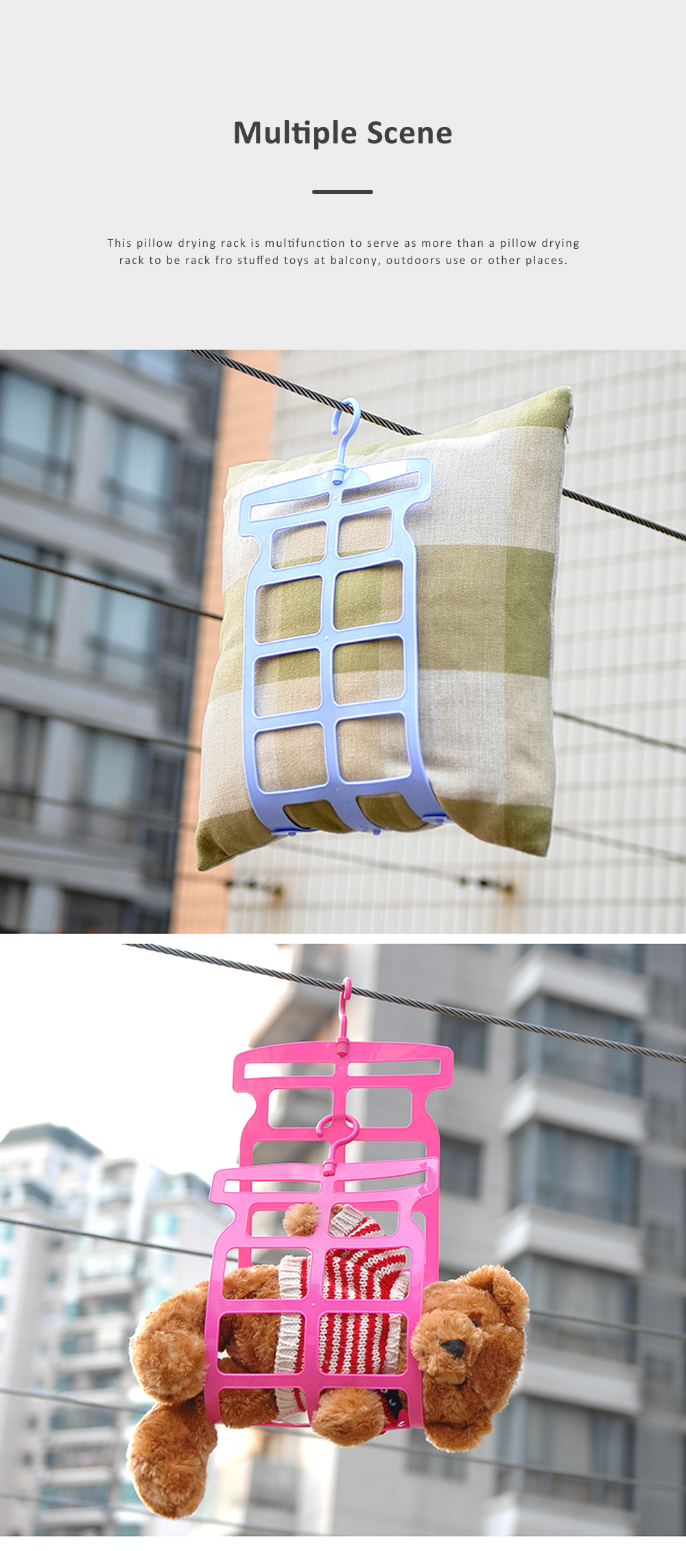 Multifunctional Pillow Drying Clip for Balcony Outdoors Use Stuffed Toys Plastic Laundry Rack Rotatory Hanger Rack 2