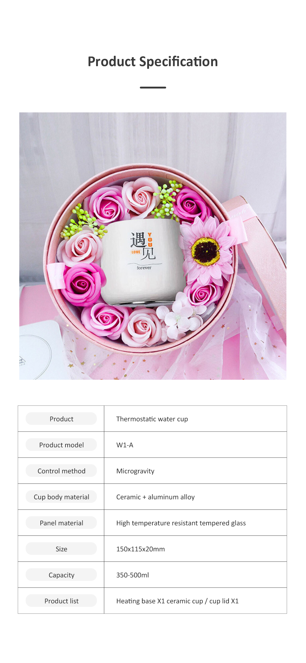55 Degree Intelligent Thermostat Coaster Smart Insulation Office Heating Mat Warmer Milk Warmer Cup Gift With Delicate Box Valentine Gift 8