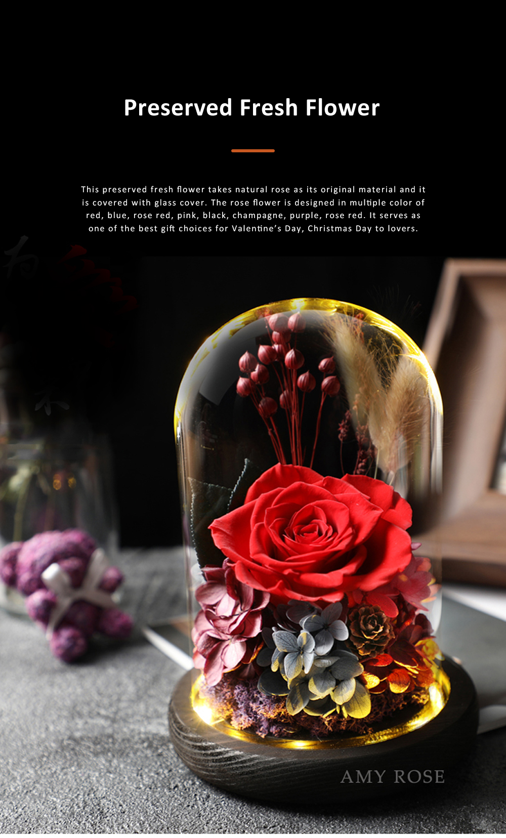 AMYROS Preserved Fresh Flower for Valentine's Day Christmas Dry Rose Bouquet Glass Covered Preserved Fresh Flower 0