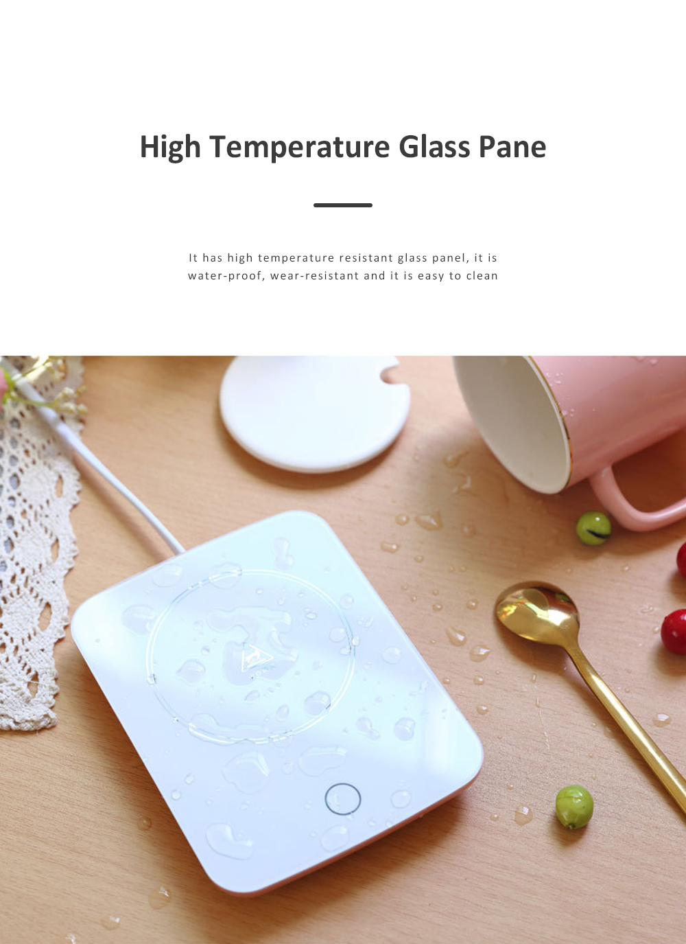 55 Degree Intelligent Thermostat Coaster Smart Insulation Office Heating Mat Warmer Milk Warmer Cup Gift With Delicate Box Valentine Gift 6