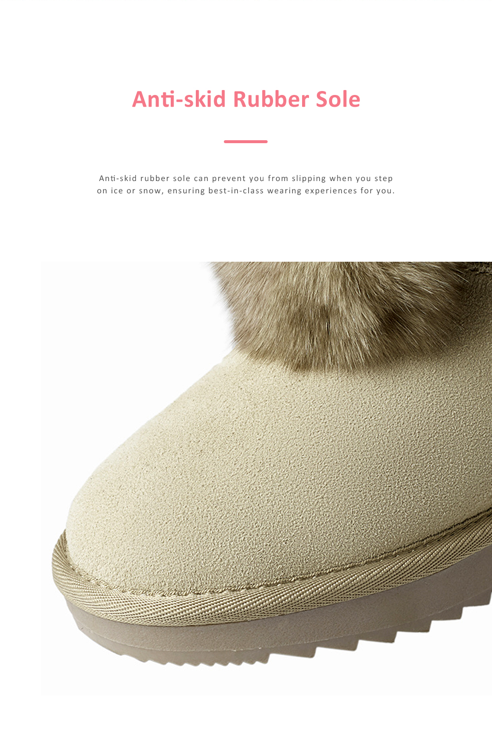 Warm Winter Autumn Cute Fluffy Rabbit Ears Model Decorative Anti-skid Girl Snow Boots with Fuzzy Ball Decoration 5