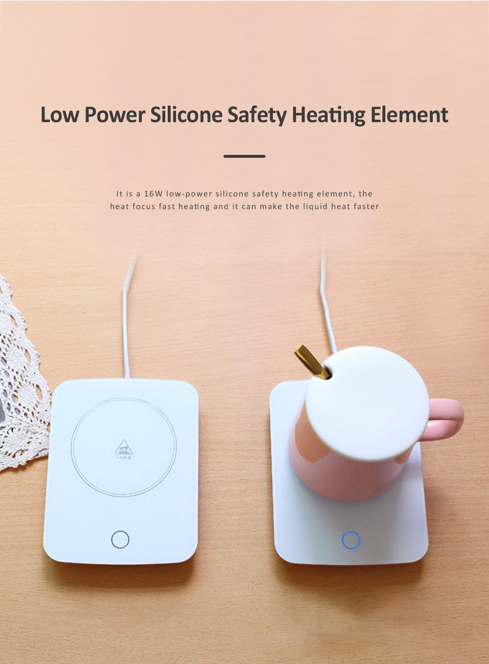 55 Degree Intelligent Thermostat Coaster Smart Insulation Office Heating Mat Warmer Milk Warmer Cup Gift With Delicate Box Valentine Gift 5
