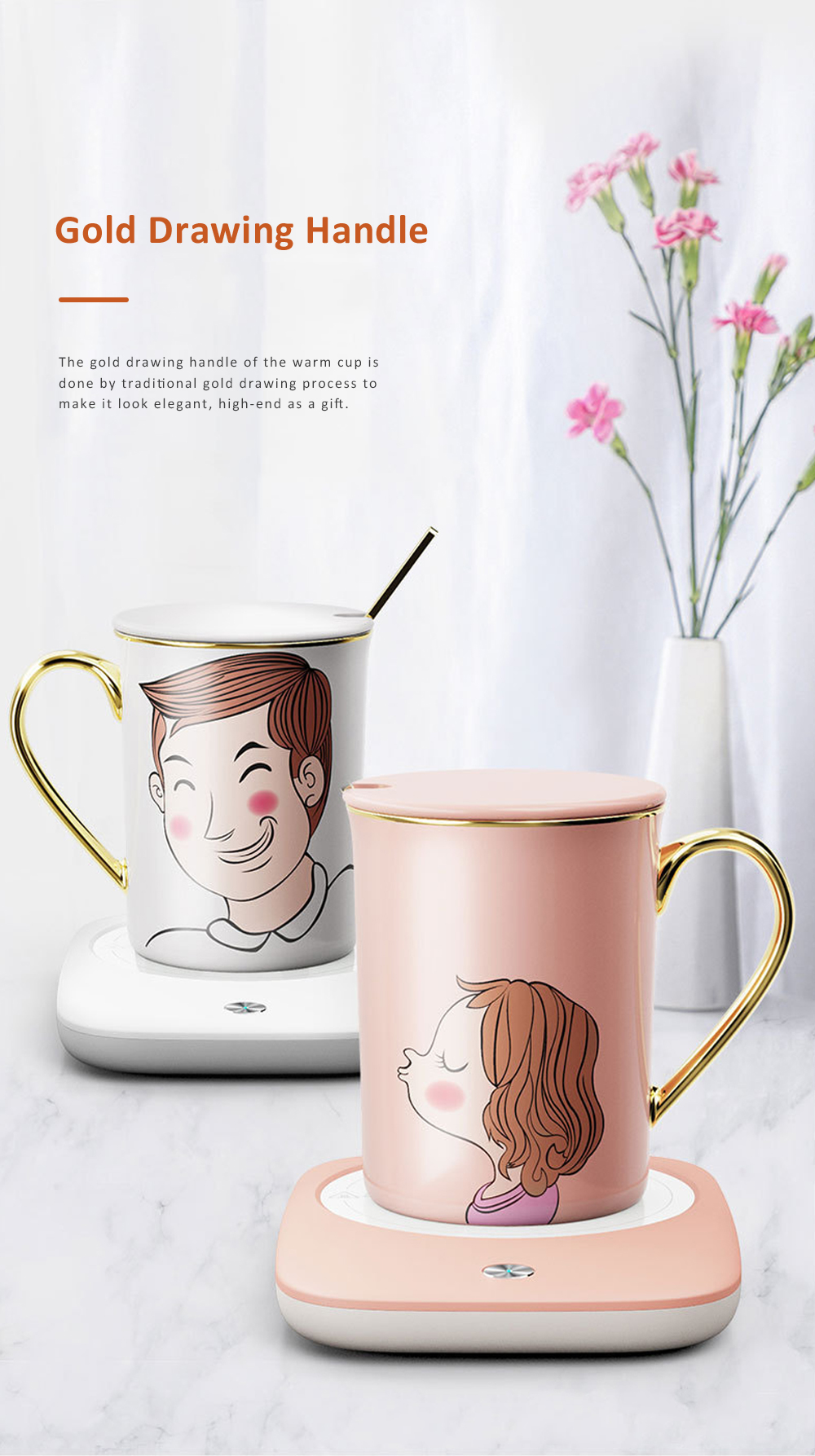 Electric Heating Ceramic Coffee Mug Warm Cup with Auto Temperature-lock Base Quick Heating Water Cup Best Gift 10