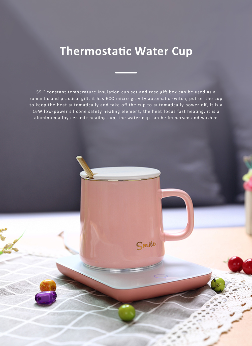 55 Degree Intelligent Thermostat Coaster Smart Insulation Office Heating Mat Warmer Milk Warmer Cup Gift With Delicate Box Valentine Gift 0