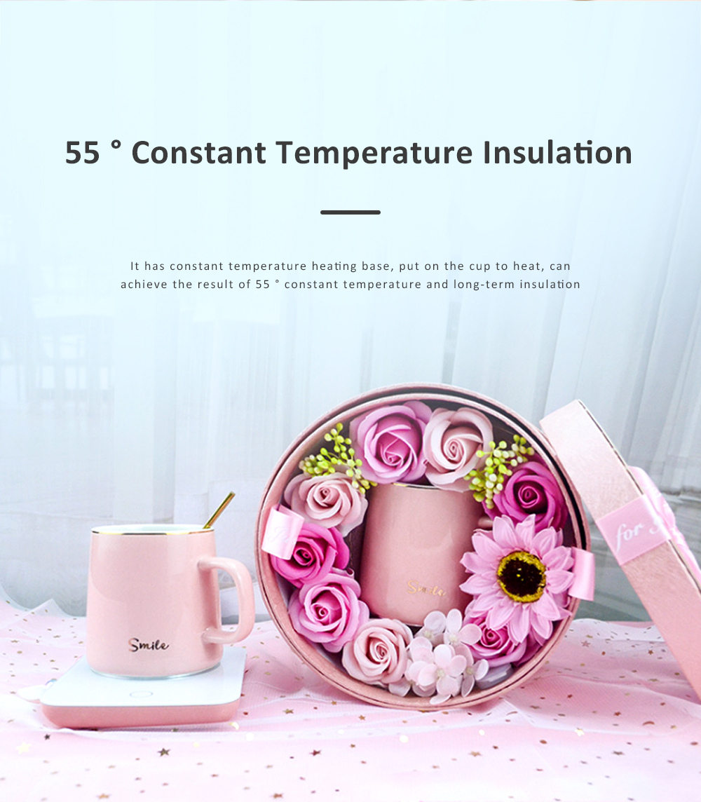 55 Degree Intelligent Thermostat Coaster Smart Insulation Office Heating Mat Warmer Milk Warmer Cup Gift With Delicate Box Valentine Gift 1