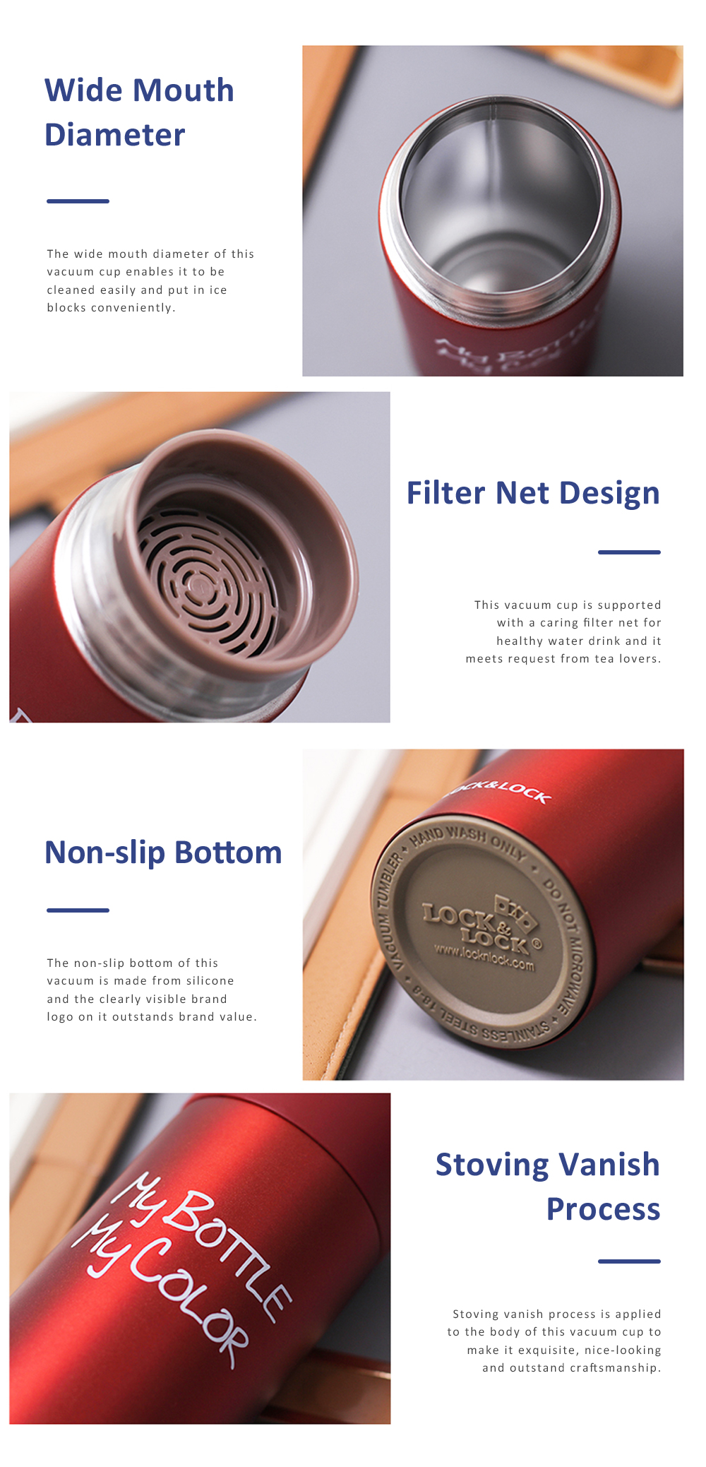 LOCK& LOCK Vacuum Water Cup Stainless Steel Pair Cup Long-time Temperature-lock Insulation Cup Filter Net Tea Cup Lovers Couple Cup Best Gift 4