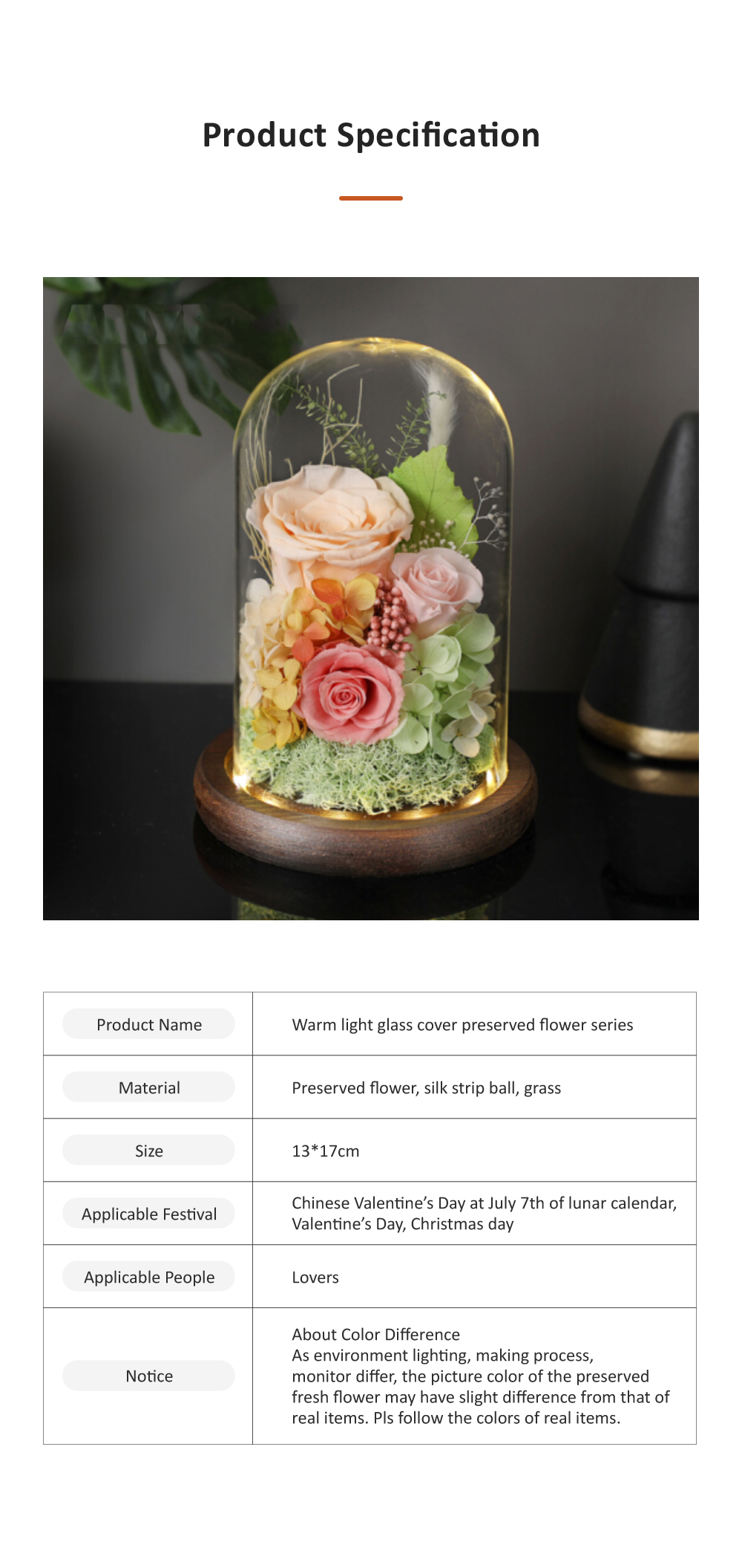AMYROS Preserved Fresh Flower for Valentine's Day Christmas Dry Rose Bouquet Glass Covered Preserved Fresh Flower 6