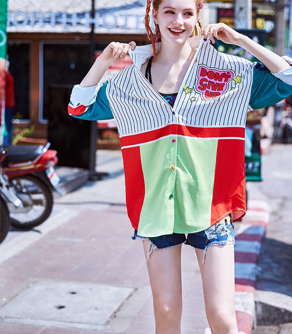 ZVBV 2020 Spring New Loose Korean Fashion Half Sleeve Sun Proof Shirt Fashionable Women's Wear Personalized Leisure Medium Long Shirt 1