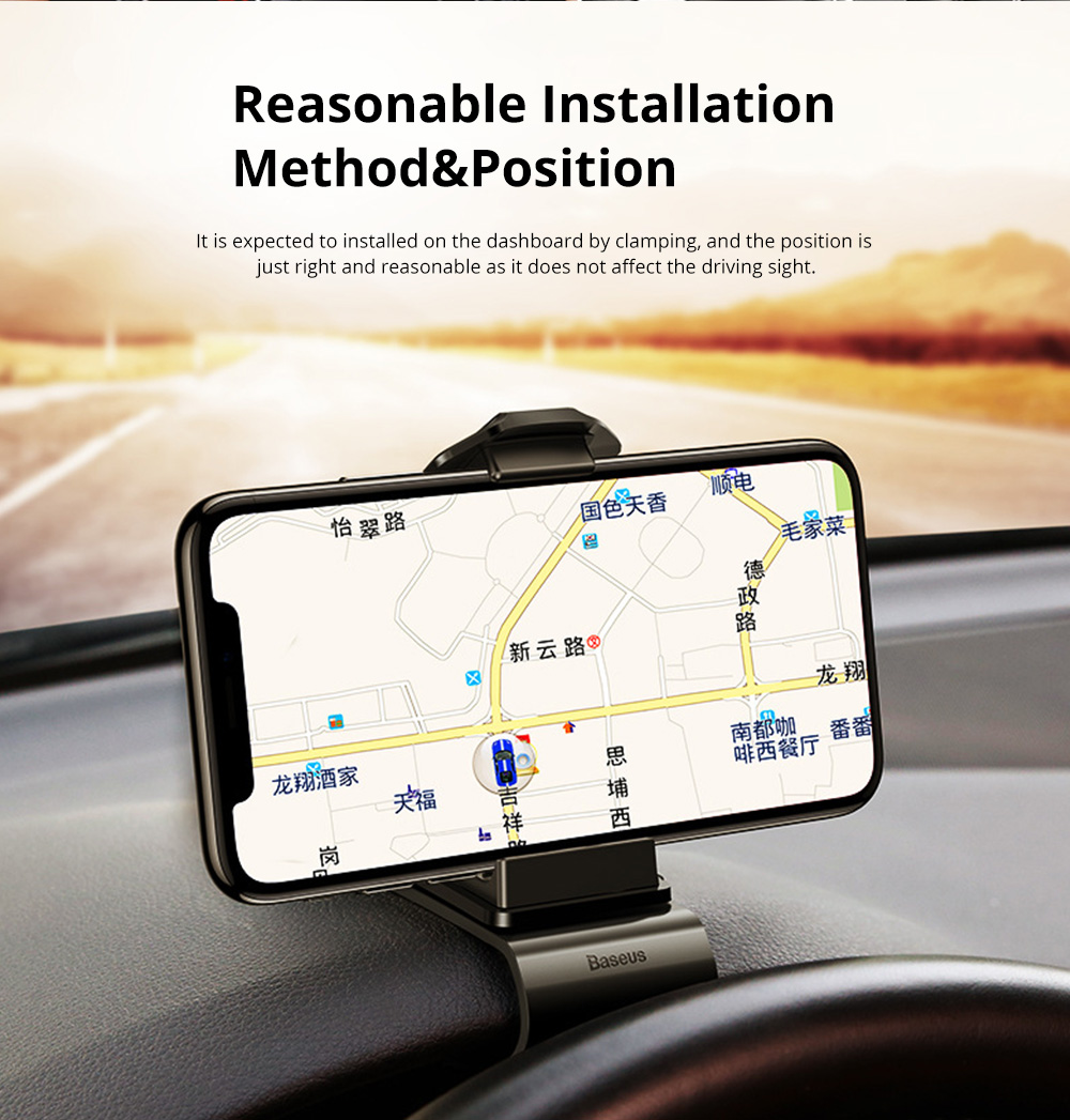 VIssko Car Dashboard Mount Phone Clip Stand Suitable for 3.5 to 7 inch Smartphones 360-Degree Rotation Clip Mount Holder 2
