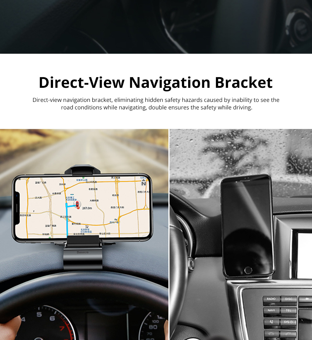 VIssko Car Dashboard Mount Phone Clip Stand Suitable for 3.5 to 7 inch Smartphones 360-Degree Rotation Clip Mount Holder 1