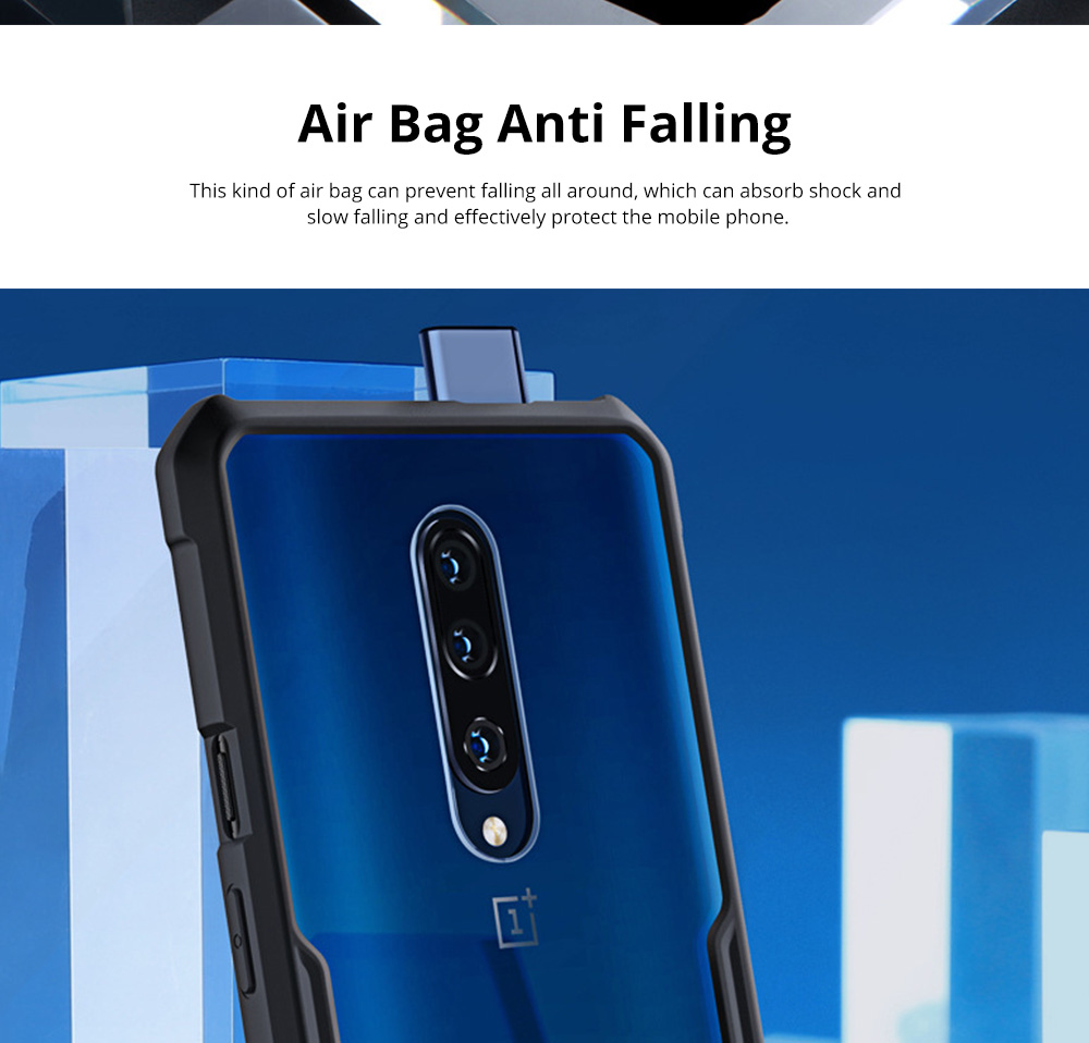 For OnePlus 7T Anti Falling Mobile Phone Case Silicone Shockproof Case with Lanyard Hole 1+ 7T Pro Mobile Phone Full Edge Transparent Protective Case 1