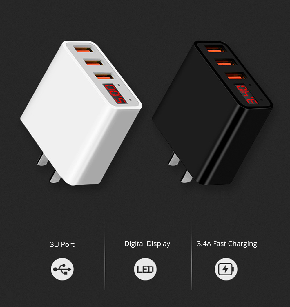 3.4A Fast Wall Charger with 3 USB Port Portable USB Power Adapter with Digital Display Suitable for Most Devices 1