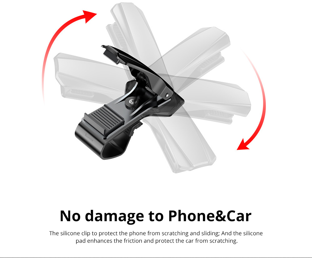 VIssko Car Dashboard Mount Phone Clip Stand Suitable for 3.5 to 7 inch Smartphones 360-Degree Rotation Clip Mount Holder 6