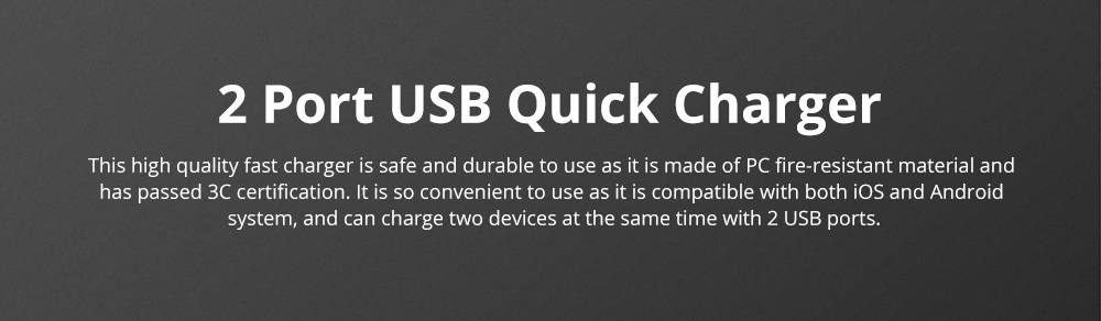 2 Port USB Quick Charger with 2A Output Portable Travel Fast Adapter Compatible with iOS and Android 0