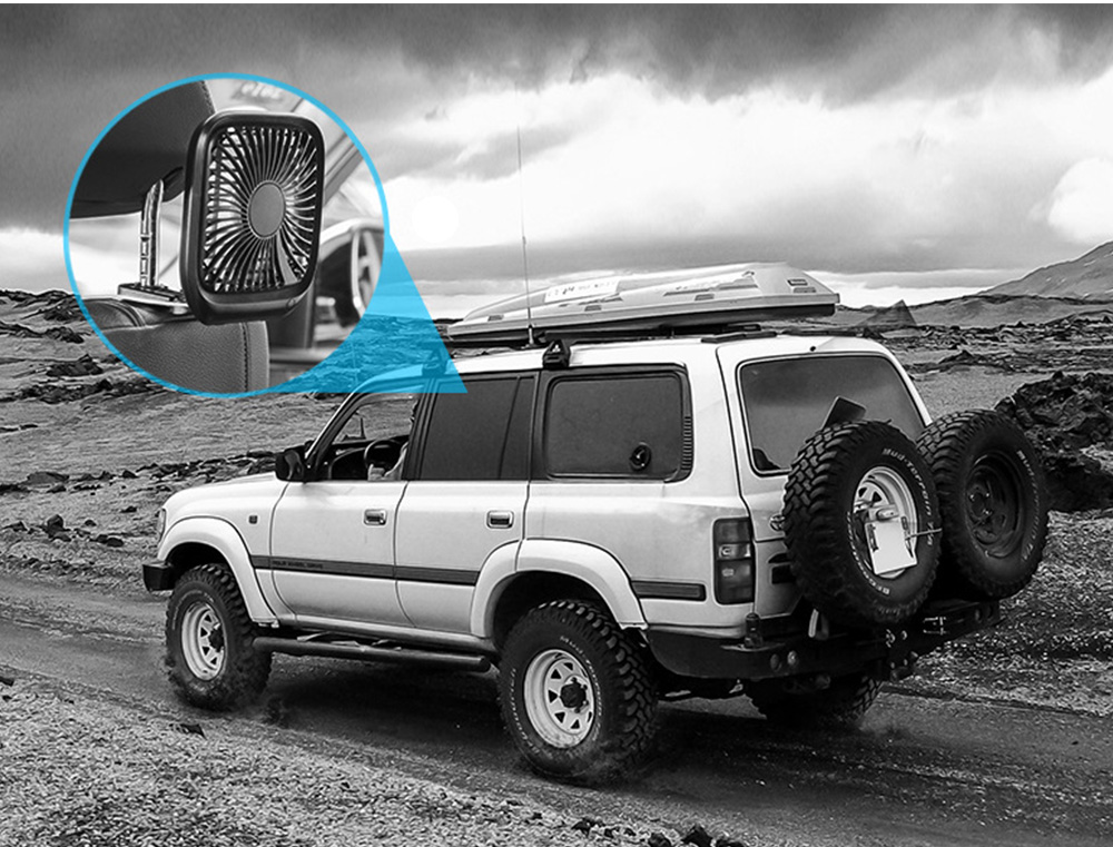 Silent Folding Cooling Fan for Vehicles Rechargeable Car Rear Seat Fan with Three-Level Adjustable Wind Power 13