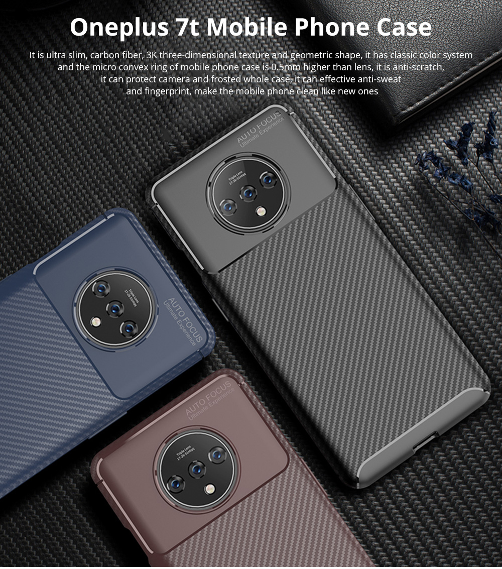 Ultra Slim Fit Phone Case For Oneplus 7t Soft TPU Bump Mobile Phone Case Litchi Leather Pattern Back Cover 0