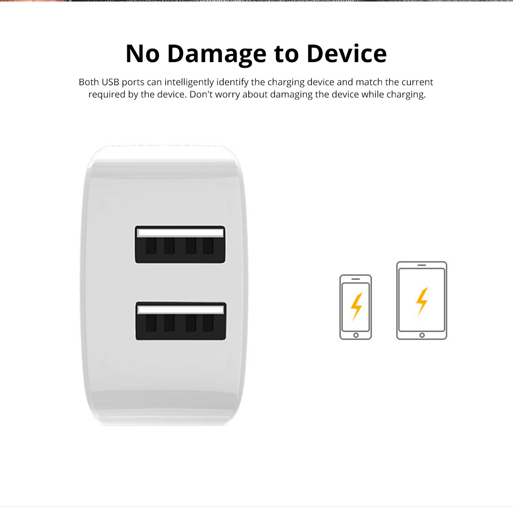 2 Port USB Quick Charger with 2A Output Portable Travel Fast Adapter Compatible with iOS and Android 7