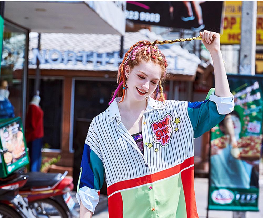 ZVBV 2020 Spring New Loose Korean Fashion Half Sleeve Sun Proof Shirt Fashionable Women's Wear Personalized Leisure Medium Long Shirt 7