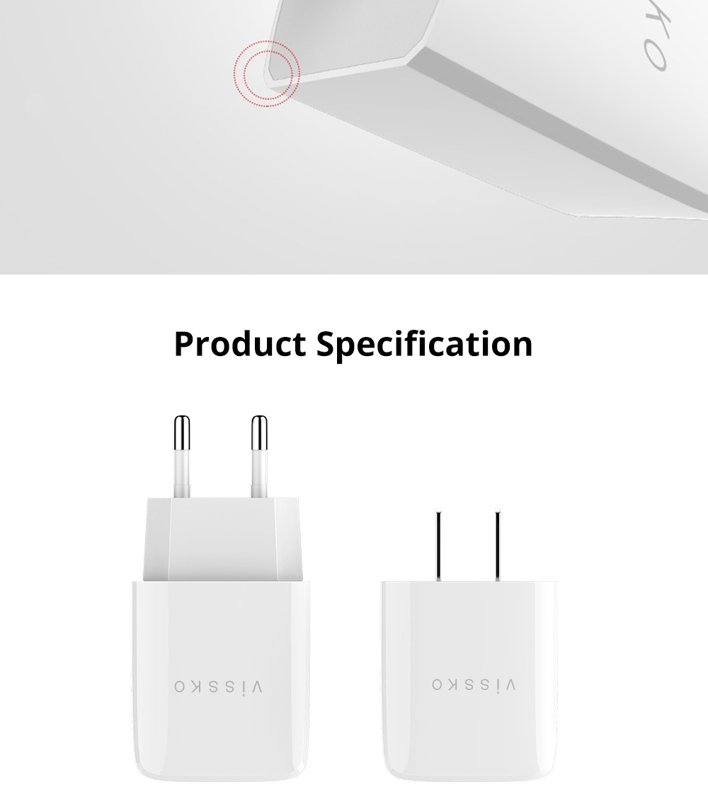 2 Port USB Quick Charger with 2A Output Portable Travel Fast Adapter Compatible with iOS and Android 9
