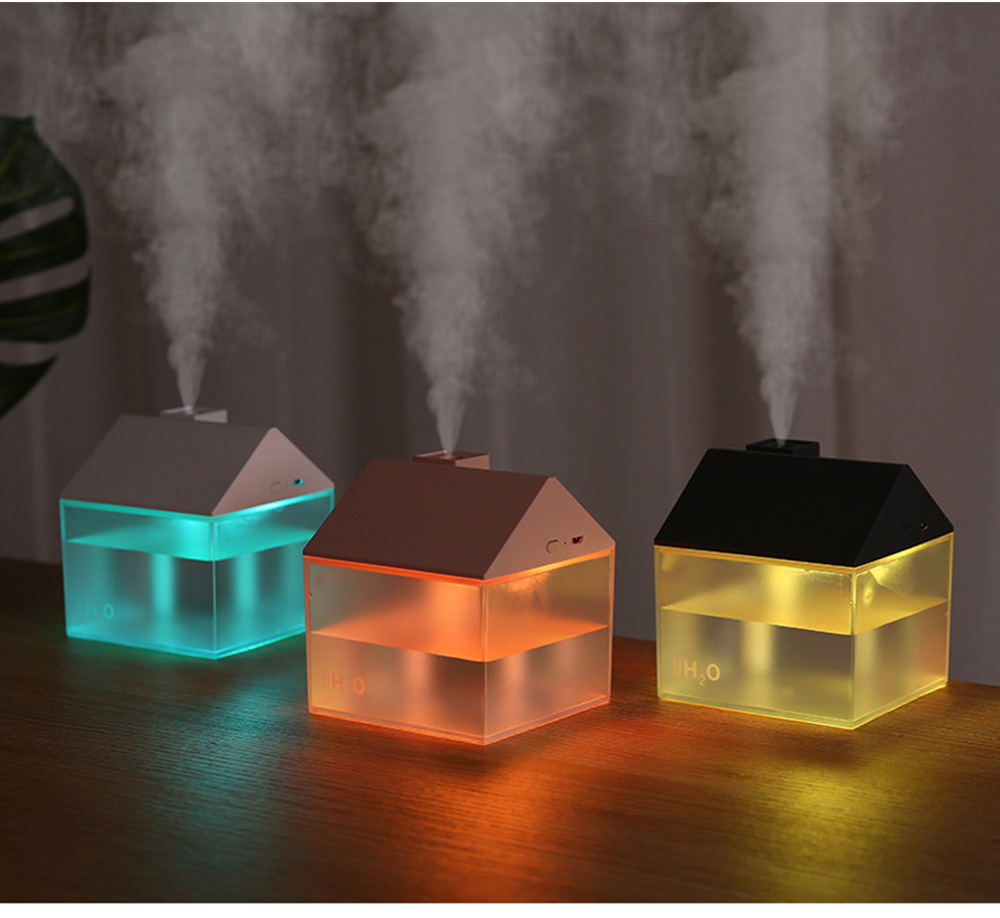 House Shape Air Purifier Humidifier Small Ultrasonic Humidifier With Mini Fan And USB Light For Home Office 7