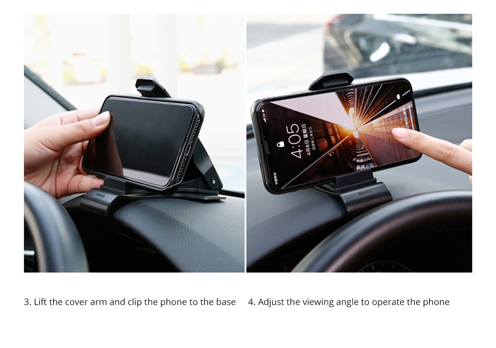 VIssko Car Dashboard Mount Phone Clip Stand Suitable for 3.5 to 7 inch Smartphones 360-Degree Rotation Clip Mount Holder 12