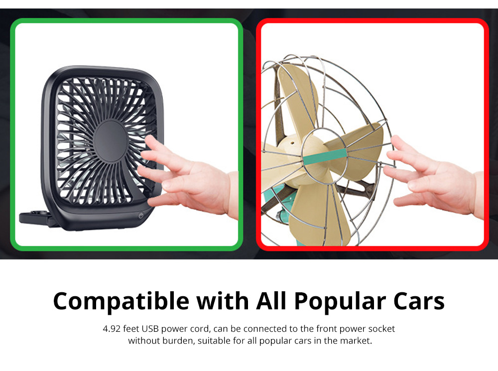 Silent Folding Cooling Fan for Vehicles Rechargeable Car Rear Seat Fan with Three-Level Adjustable Wind Power 12