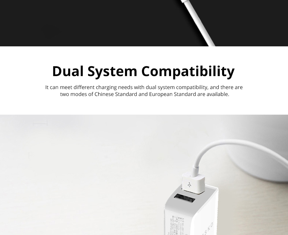 2 Port USB Quick Charger with 2A Output Portable Travel Fast Adapter Compatible with iOS and Android 4