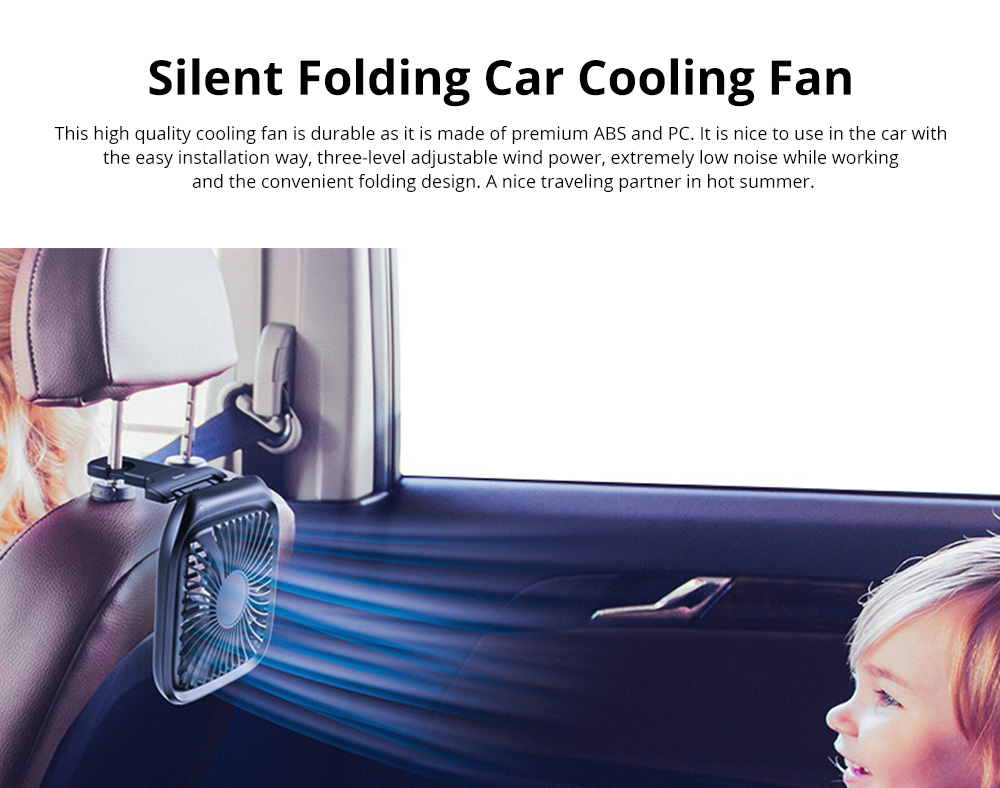Silent Folding Cooling Fan for Vehicles Rechargeable Car Rear Seat Fan with Three-Level Adjustable Wind Power 0