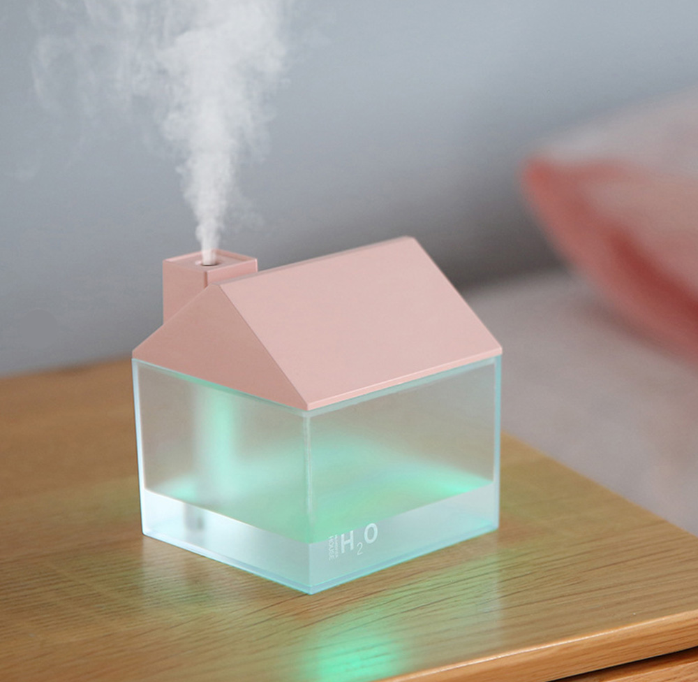 House Shape Air Purifier Humidifier Small Ultrasonic Humidifier With Mini Fan And USB Light For Home Office 9