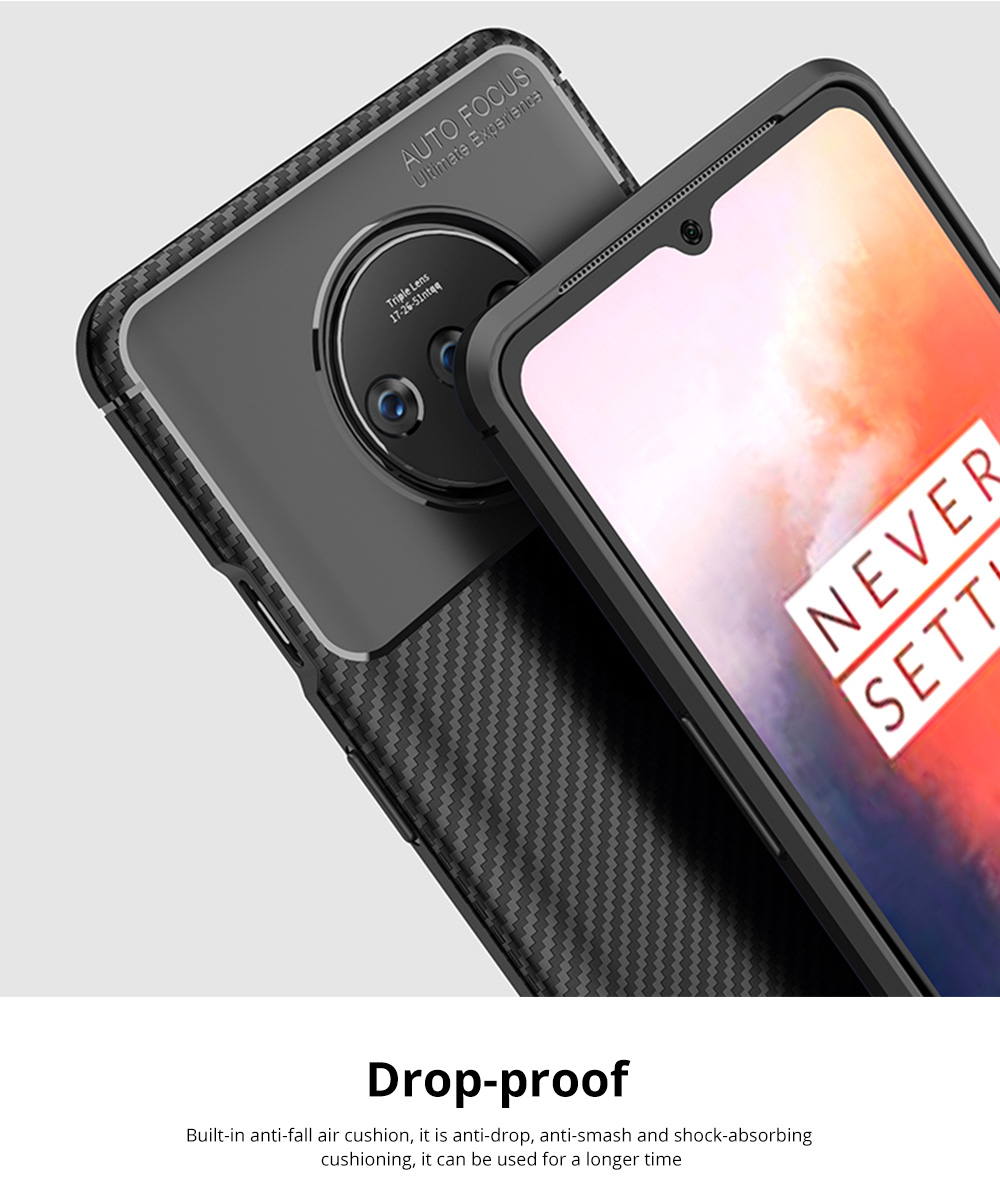 Ultra Slim Fit Phone Case For Oneplus 7t Soft TPU Bump Mobile Phone Case Litchi Leather Pattern Back Cover 6