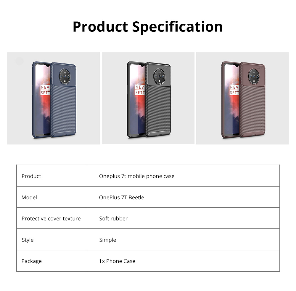 Ultra Slim Fit Phone Case For Oneplus 7t Soft TPU Bump Mobile Phone Case Litchi Leather Pattern Back Cover 9