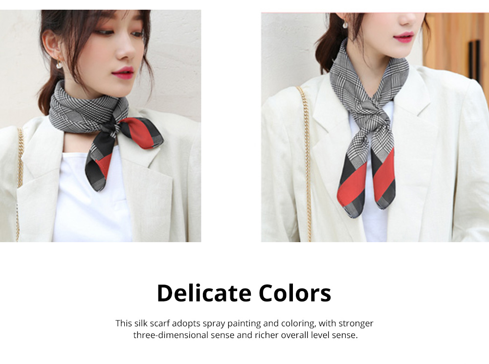Autumn and Winter Style Fashionable Small Square Scarf Versatile Scarf Neck Protection Korean Small Scarf 3