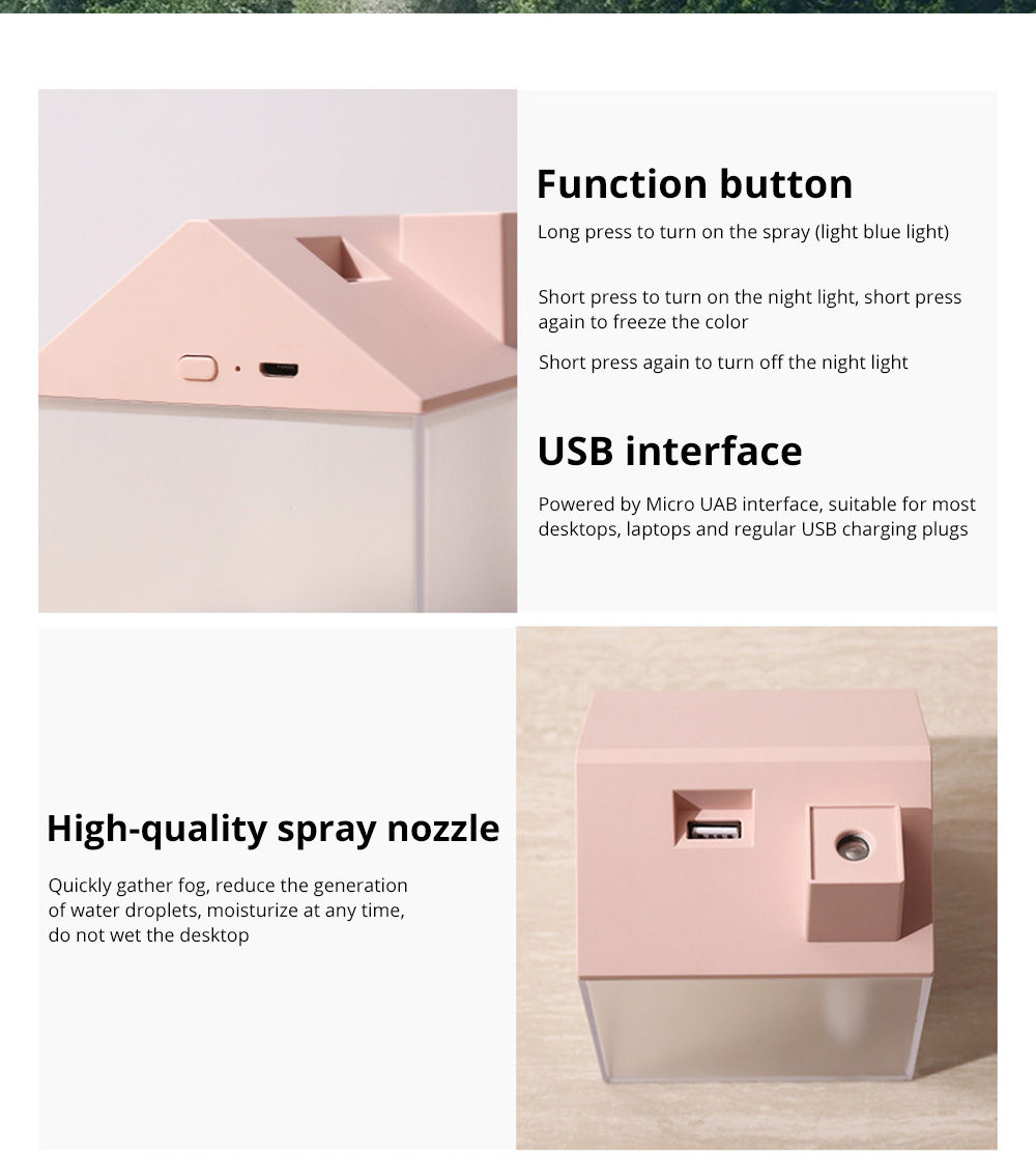 House Shape Air Purifier Humidifier Small Ultrasonic Humidifier With Mini Fan And USB Light For Home Office 15