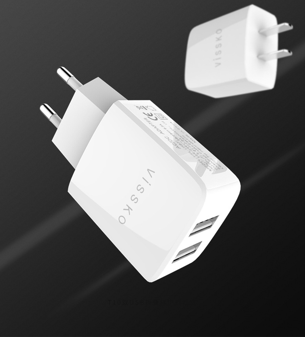 2 Port USB Quick Charger with 2A Output Portable Travel Fast Adapter Compatible with iOS and Android 1