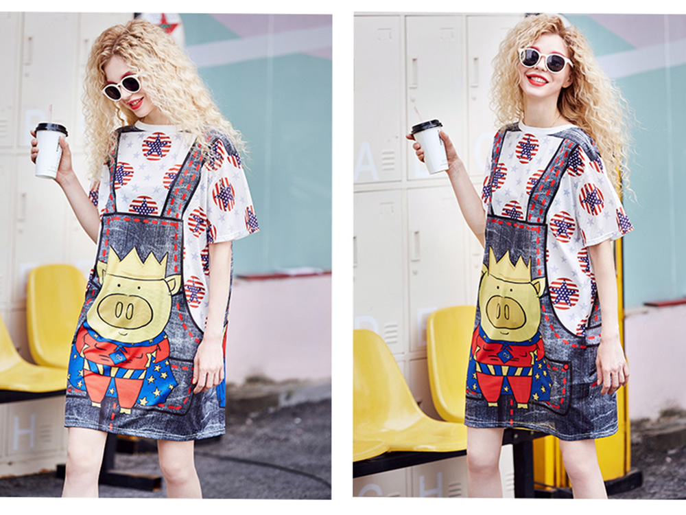 Women's Short-Sleeve Swing Dress Breathable T-Shirt Dress with Simple Round Neck and Printed Styling Pattern 10