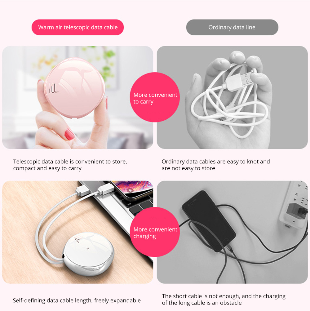 2.1A Portable Universal 3 In 1 Mini Size Retractable Fast Charging Type-c Micro USB Digital Cable Storage Box for iPhone Andriod Fast Charging 19
