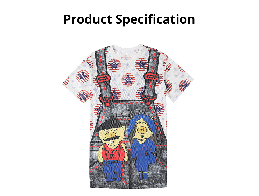 Women's Short-Sleeve Swing Dress Breathable T-Shirt Dress with Simple Round Neck and Printed Styling Pattern 12