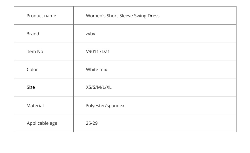 Women's Short-Sleeve Swing Dress Breathable T-Shirt Dress with Simple Round Neck and Printed Styling Pattern 13