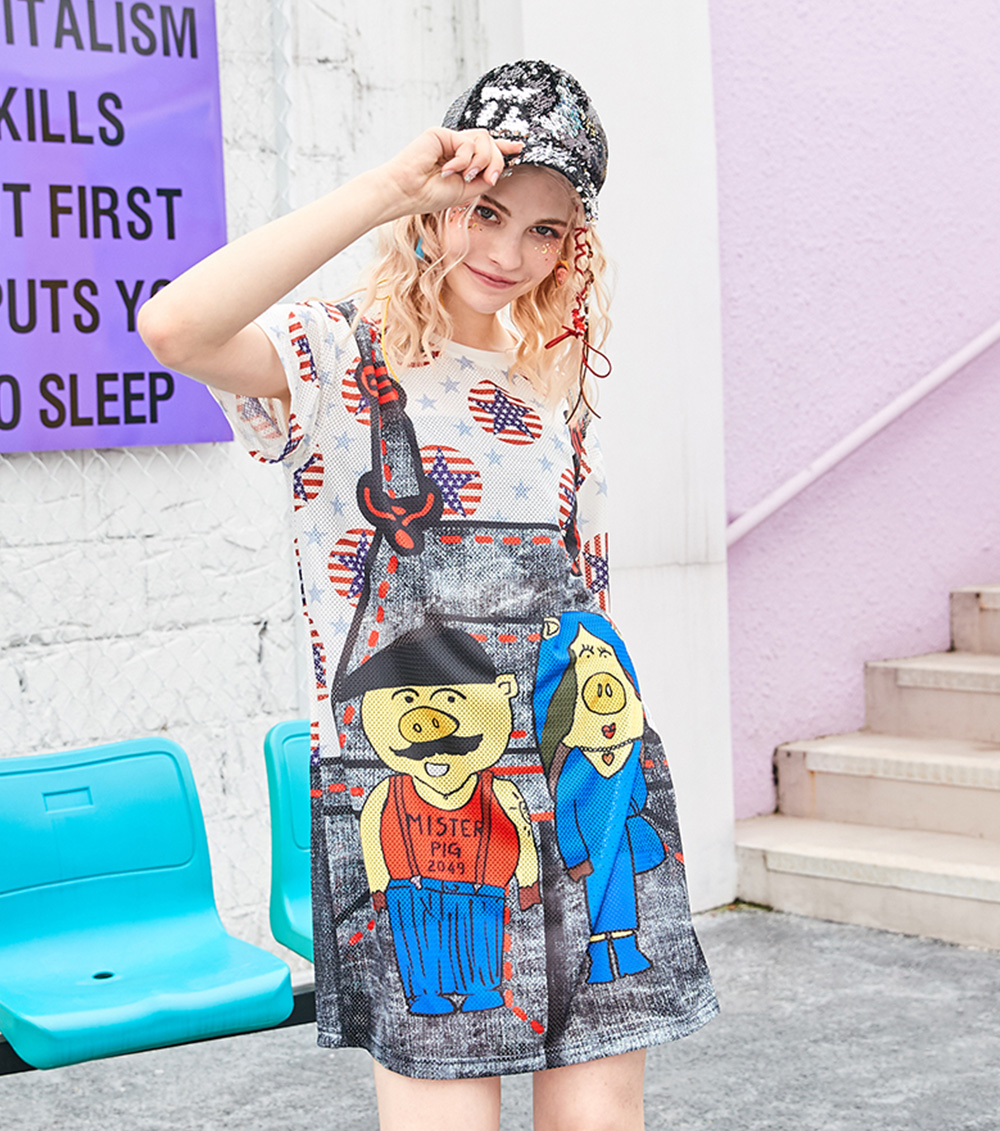 Women's Short-Sleeve Swing Dress Breathable T-Shirt Dress with Simple Round Neck and Printed Styling Pattern 7