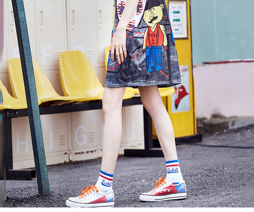 Women's Short-Sleeve Swing Dress Breathable T-Shirt Dress with Simple Round Neck and Printed Styling Pattern 9