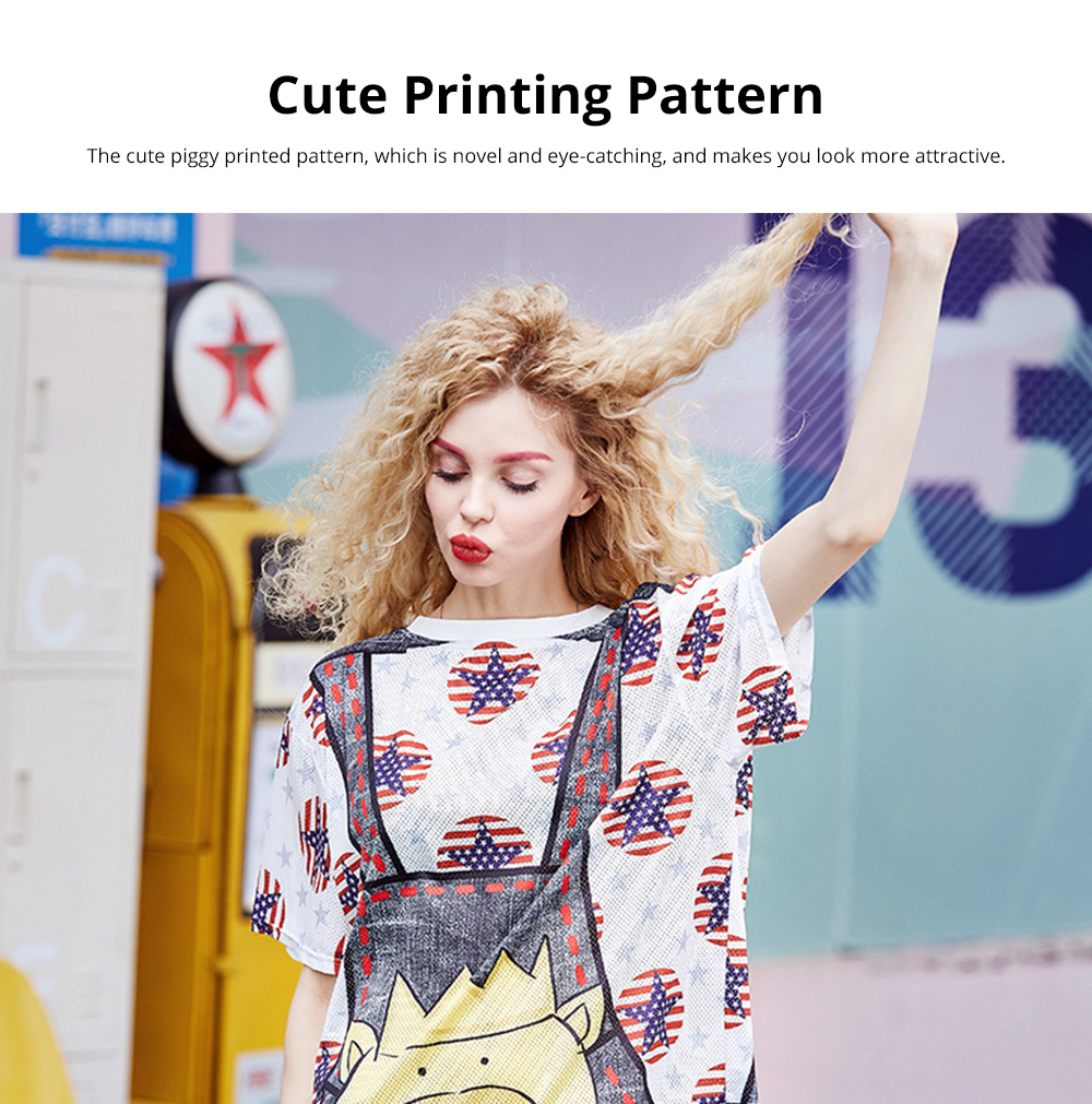 Women's Short-Sleeve Swing Dress Breathable T-Shirt Dress with Simple Round Neck and Printed Styling Pattern 3
