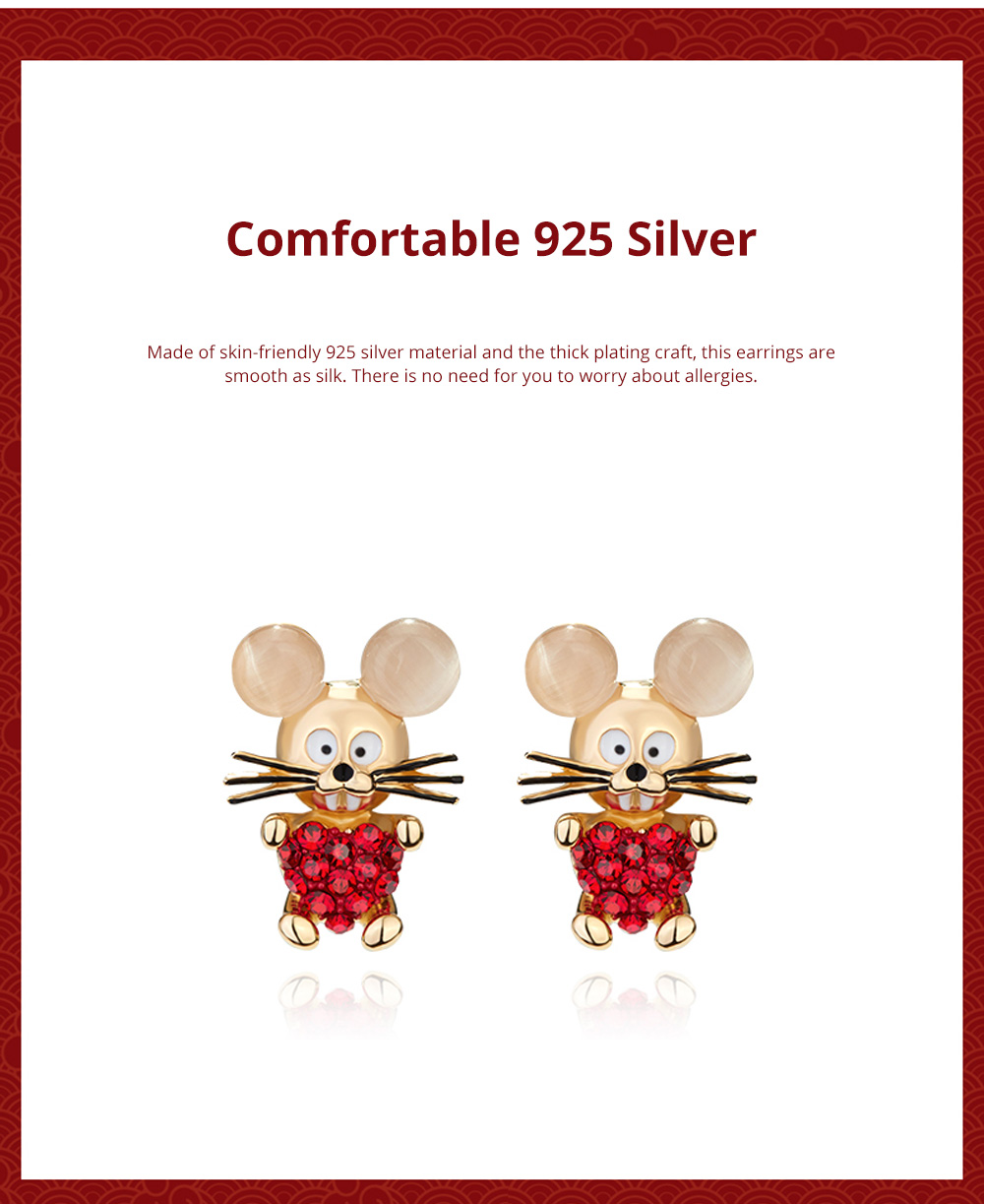 Delicate 925 Silver Earrings  Mouse Zodiac Year Birth Eardrop with Propitious implied Meaning Mouse Earrings Studs 4