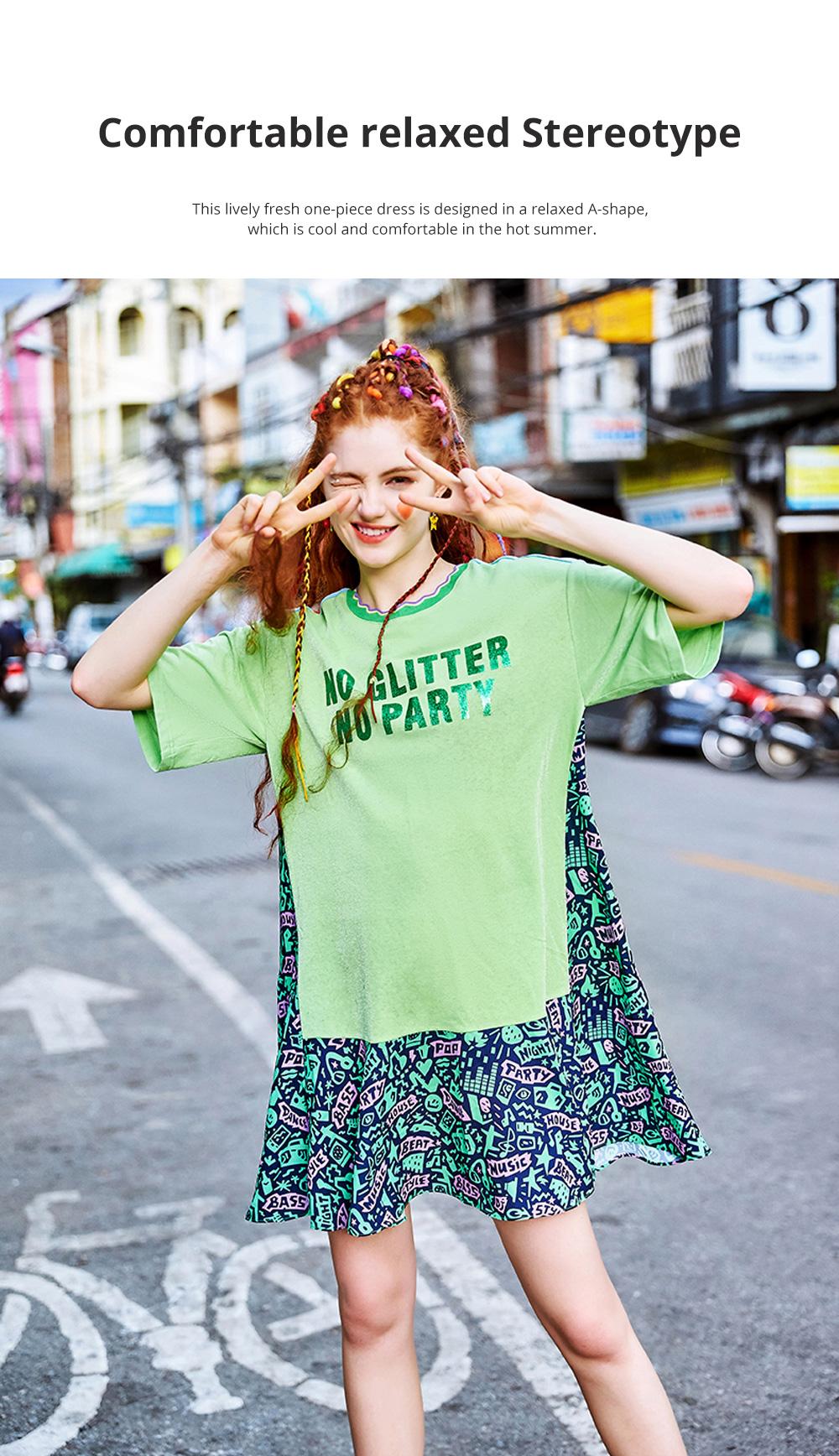Summer New European Style Fashionable Avocado Green One-piece Fresh Leisure A-shape Dress For Girls Womens 1